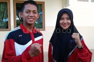 Dua siswa SMAN 1 Takengon, Aly Alfaraesy dan Dio Vany Anggraini, sepasang Paskibraka Nasional wakili Aceh. (Kha A Zaghlul)
