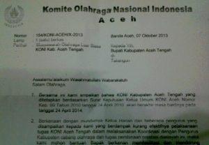 Surat KONI Aceh tentang Muslub KONI Aceh Tengah. (isi)