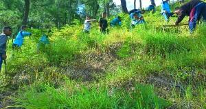 Sambil belajar, siswa SMAN 1 Takengon tanam pohon dan pungut sampah di Lut Tawar