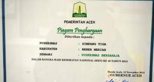 Puskesmas Bukit kembali raih gelar Bersahaja dari Gubernur Aceh