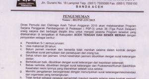 Dispora Aceh Rekrut Sarjana Untuk PSP-3 Wilayah Aceh Tengah dan Bener Meriah