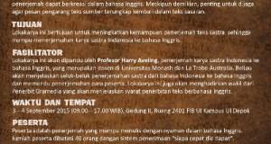 LBI FIB UI Adakan Lokakarya Penerjemahan Karya Sastra Indonesia ke Bahasa Inggris