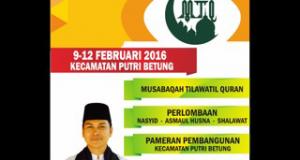 9-12 Februari 2016; Putri Betung gelar MTQ Kecamatan