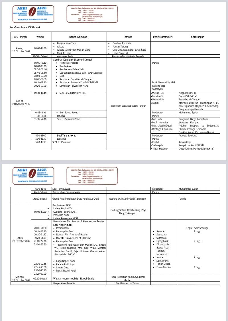 Jadwal Kegiatan KKSI ke-8
