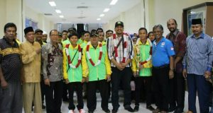 Kontingen POSPENAS Aceh Tiba di Bandara SIM