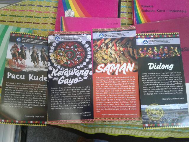Brosur warisan budaya takbenda (WBTB) dari Gayo