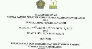 Jajaran Kemenag dan Disdik Aceh Diimbau Shalat Ghaib