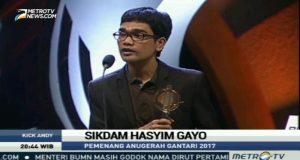Penerima Anugerah Gantari 2017 Sikdam Hasyim Gayo; Ini Kado Ultah Kota Takengon