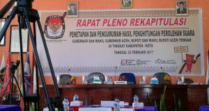 Rapat Pleno Rekap Suara di KIP Aceh Tengah Molor