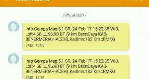Bener Meriah Gempa, SMS Berulang KominfoBMKG Bikin Geger
