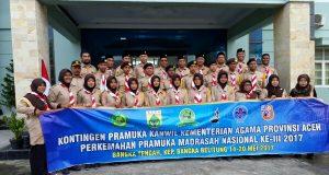 Kontingen Perkemahan Pramuka Madrasah Aceh Bertolak ke Babel