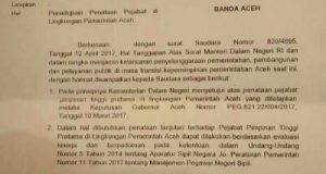 Mendagri Setujui Mutasi yang Dilakukan Gubernur Aceh Maret 2017