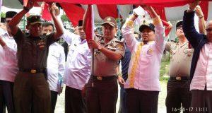Bupati Ahmadi Ikuti Gladi Bersih Perdananya Pengibaran Bendera 17 Agustus