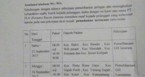 Sabtu-Minggu ada Pemadaman Listrik di Bener Meriah dan Aceh Tengah, ini Infonya!