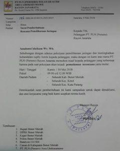 Surat PLN Rayon Janaarata