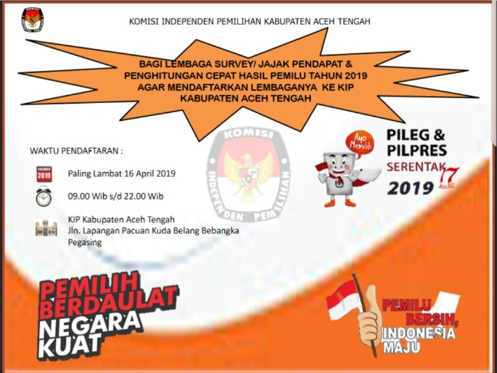 Pendaftaran Lembaga Survey Pemilu 2019 KIP Aceh Tengah